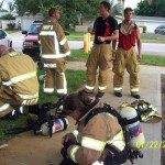 Crews after drag rescue, hose crawl, wall maze and tube crawl