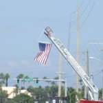 Truck 56 with Flag Honoring Sgt Sanchez